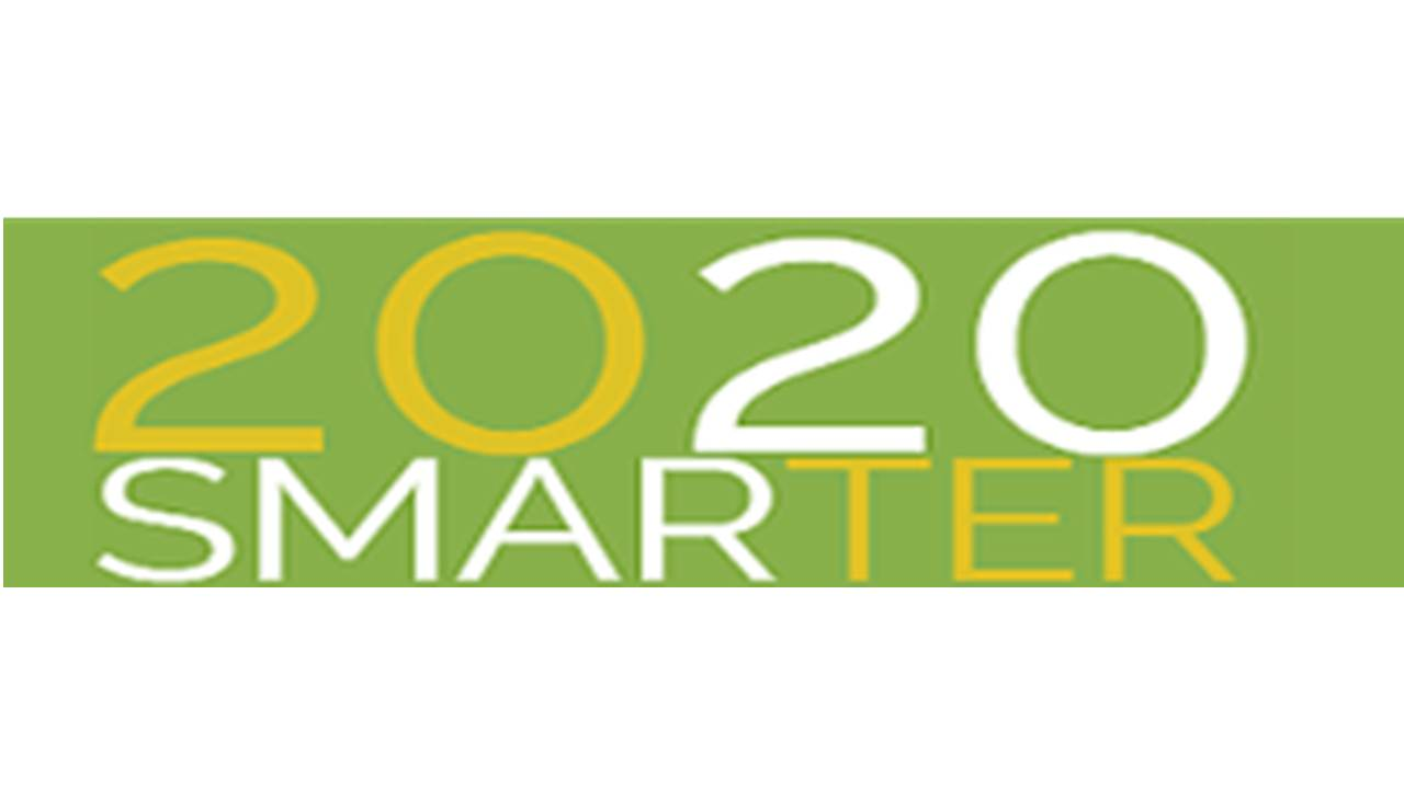 "Logo 2020 Smarter ""WE CREATE SUSTAINABLE INFRASTRUCTURES, ADAPTING AIRPORTS IN INSULAR REGIONS""."