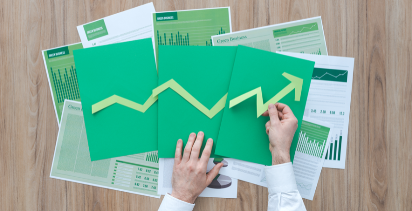 growth green paper sheets
