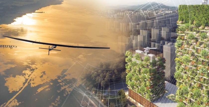 solar impulse plane - vertical forest