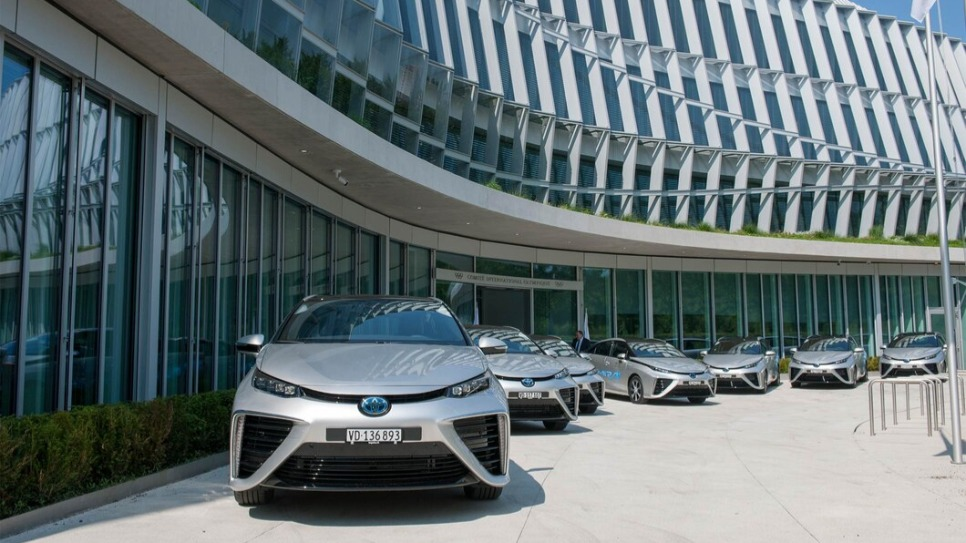 Toyota Mirai in front of the Olympic House
