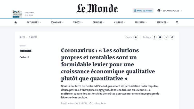 Coronavirus : « Les solutions propres et rentables sont un formidable levier pour une croissance économique qualitative plutôt que quantitative »