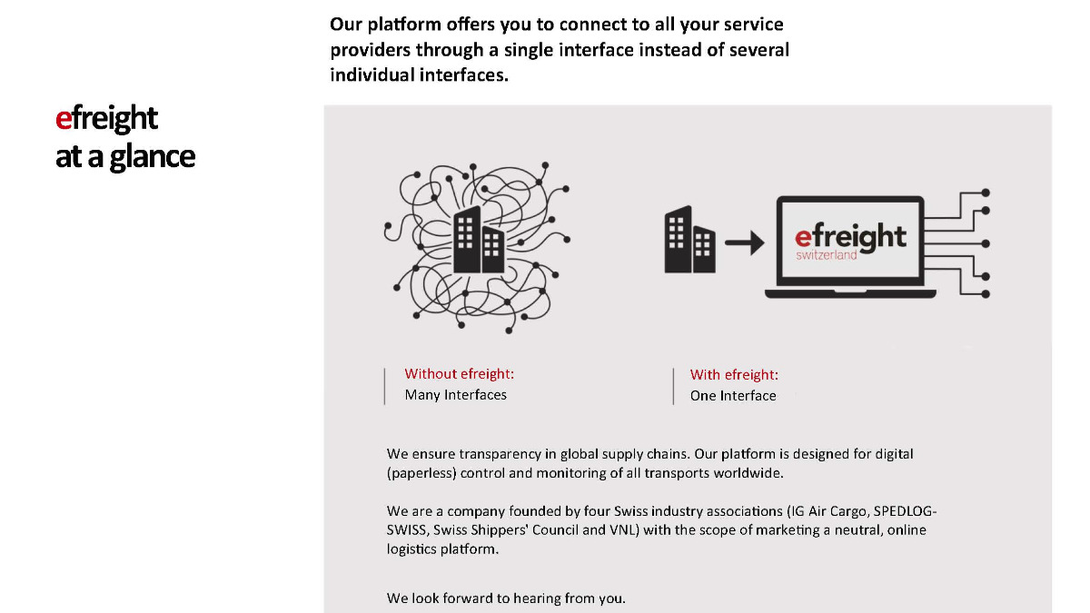 Offer efreight - your digital logistics platform